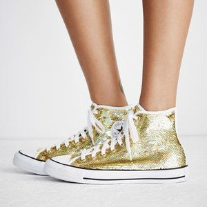 Gold Sequin Paradise Party Hi Top Converse